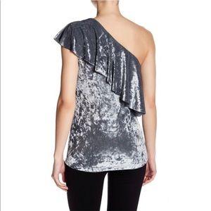 Tart Tops - Tart, Ruffled One Shoulder Velvet Top, Grey